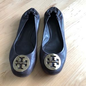 Tory Burch Reva Flats - Brown and Gold - Size 8